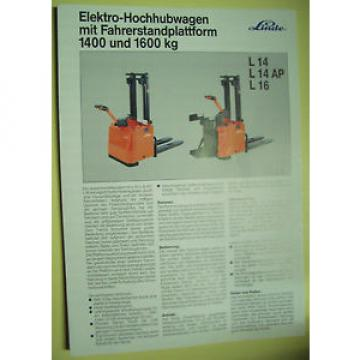 Sales Brochure Original Prospekt Linde Elektro-Hochhubwagen Fahrerstandplattform