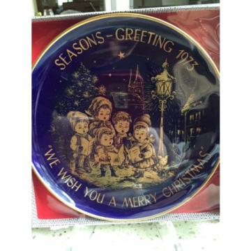 CHRISTMAS1973 H.H. Lihs Linde/Kueps Bavaria Collector Plate GOLD BLUE COBALT.