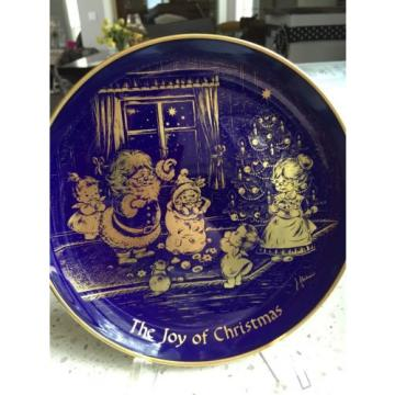 CHRISTMAS1976 H.H. Lihs Linde/Kueps Bavaria Collector Plate GOLD BLUE COBALT.