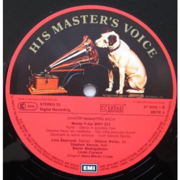 EX 27 0029 3 Bach Masses BWV 233-236 Linde-Consort 2xLP EMI Digital NM/EX
