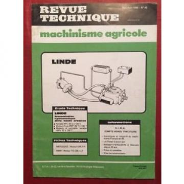Revue Technique Machinisme Agricole LINDE Transmission Hydrostatique