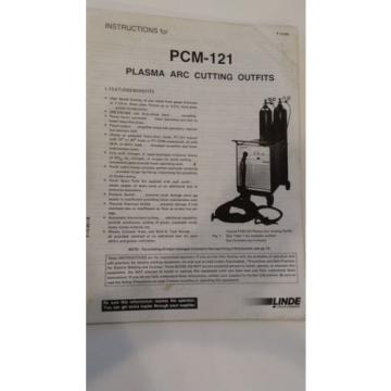 LINDE PCM-121 Plasma Arc Cutting Outfit Instruction Manual