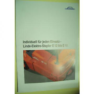 Sales Brochure Original Prospekt Linde Stapler Angebotsübersicht E 12 bis E 18