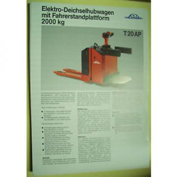 Sales Brochure Original Prospekt Linde Elektro-Deichselhubwagen T 20 AP mit ...