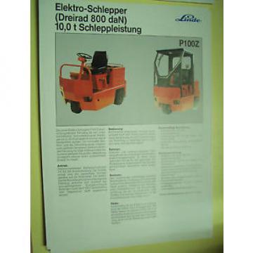 Sales Brochure Original Prospekt Linde Elektro schlepper P 100 Z  10,0 t leistun