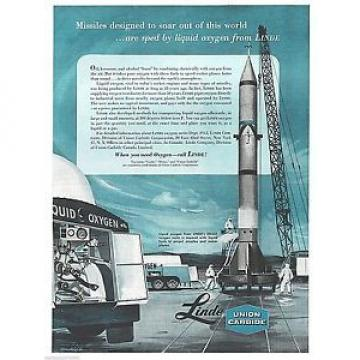 "1958 Linde Union Carbide Driox Oxygen Rocket Space Engine Art Print Ad 10.5""x13"""