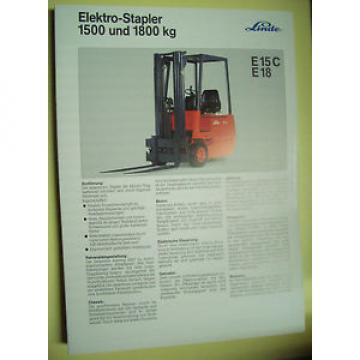 Sales Brochure Original Info Prospekt Linde Elektro-Stapler 1500 und 1800 Kg