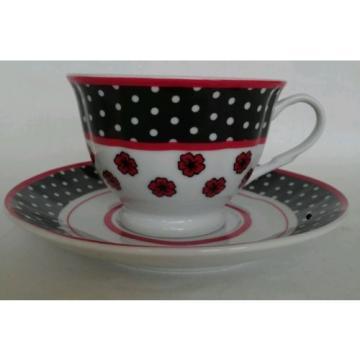 Linde Lane Dress Up High Heel Shoe China Tea Cup Saucer Teacup Black Red Polka