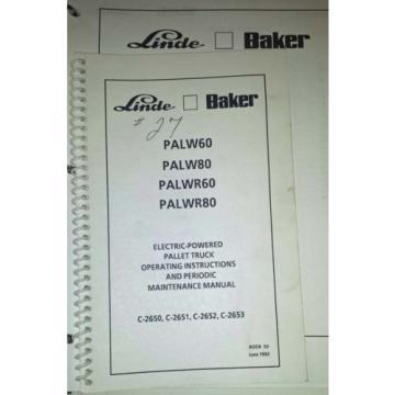 1993 Linde Baker Electric Pallet Truck Manuals (Inv.33738)