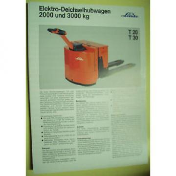 Sales Brochure Original Prospekt Linde Elektro-Deichselhubwagen T 20   T 30