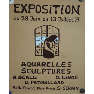 Affiche expo aquarelles sculptures Bealu Linde Patouillard St Servan 74 Bretagne