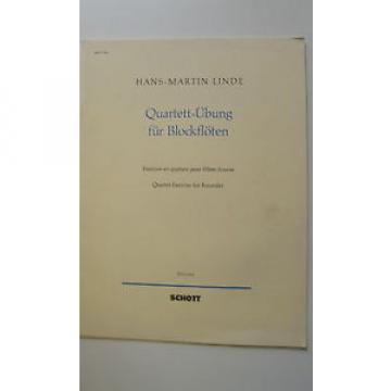 Notenheft Quartett-Übung Blockflöten H.M. Linde guter Zustand