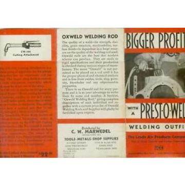 Prest-O-Weld Welding Outfit Linde Air Products Auto Tools Brochure  c1933