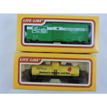Set of 2 LIFE-LIKE 8475 Linde Box Car & 8522 Hudson Tank Car HO scale train HBO