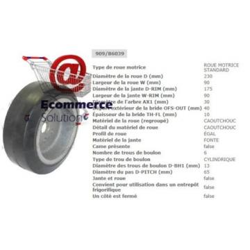 ROUE MOTRICE CAOUTCHOUC TRANSPALETTE XA16 XA20 XA 16 20 LINDE FENWICK 230 90 mm