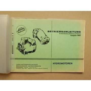 Linde Hydromotoren Betriebsanleitung Original 1969