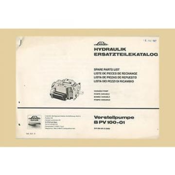 Linde Verstellpumpe B PV 100-01  Ersatzteilliste CLAAS Mähdrescher
