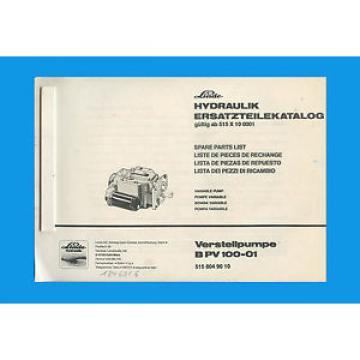 Linde Verstellpumpe B PV 100-01  Ersatzteilkatalog Ersatzteilliste