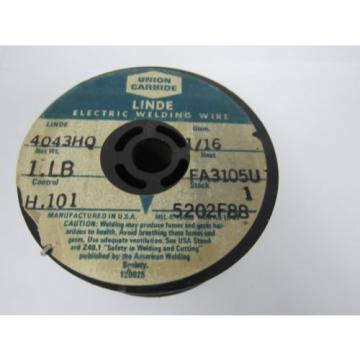 "UNION CARBIDE LINDE ELECTRIC WELDING WIRE( 1LB SPOOL) 1/16"" DIA 4043HQ"
