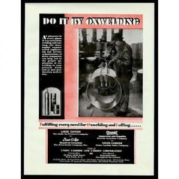 1929 Linde Oxweld oxy acetylene welding welder photo vintage print ad