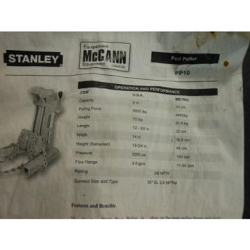 NEW Stanley PP10 Hydraulic Post Puller