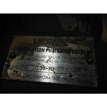 VICKERS HYDRAULIC PUMP VC-108-YD-6DD-6 ~ USED