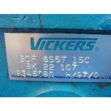 NEW VICKERS HYDRAULIC PUMP, V20F 6S5T 15C 8K 22 107, NEW IN BOX