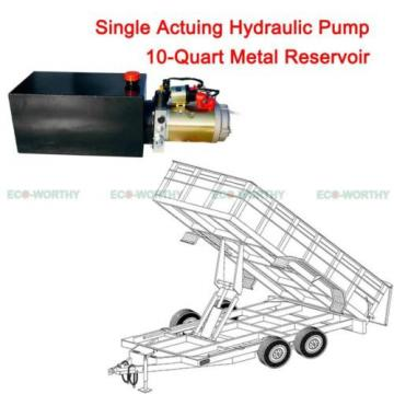12V 10 Quart Metal Tank Hydraulic Power Pump Pack Dump Trailer Car Lifting US