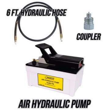 Jackco Air Hydraulic Pump with 6 ft. 10,000PSI Hydraulic Hose and Coupler