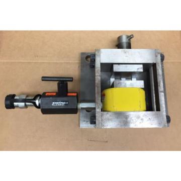 Enerpac RSM300 30 Ton 1/2 inch stroke Hydraulic Cylinder mounted in press