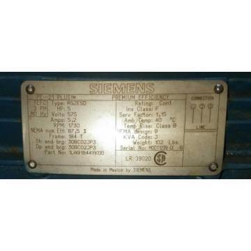 SIEMENS 5HP PE-21 PLUS RGZESD  3PH 1730RPM ELECTRIC MOTOR HYDRAULIC PUMP MOTOR