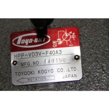 TOYOOKI KOGYO HPP-VD3V-F40A3 High Press Var. Dis. Hyd. Pump, TOYOTA