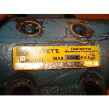 RIVETT 3000 PSI  HYDRAULIC PUMP VALVE  NO. P8821-03-25 AE1232