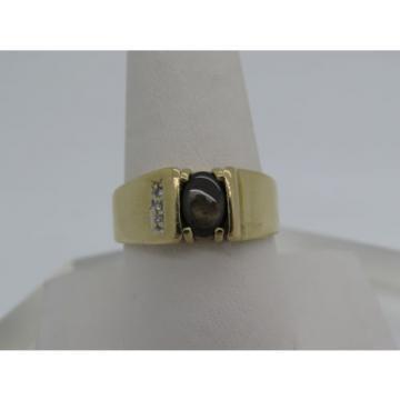 10k Yellow Gold Brown Oval Black Star Sapphire Lindi Linde Diamond Ring Size 10