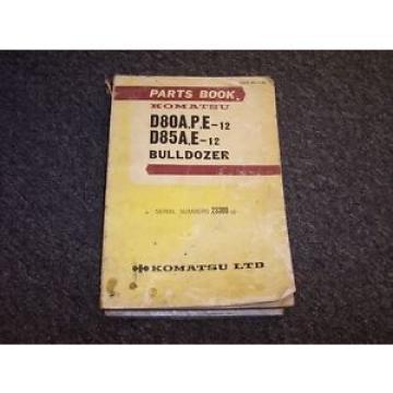 Komatsu D85A-12 D85E-12  Bulldozer Dozer Loader Parts Catalog Manual Book