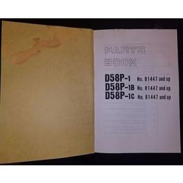 PARTS MANUAL FOR D58P-1 KOMATSU BULLDOZER OR CRAWLER DOZER
