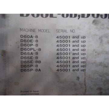 Komatsu D60A-8 D60E-8 D60P-8 Bulldozer Dozer Crawler Shop Service Repair Manual
