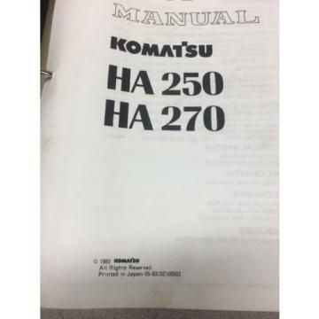 KOMATSU HA250 HA270 Articulated Dump Truck Shop Manual / Service Repair