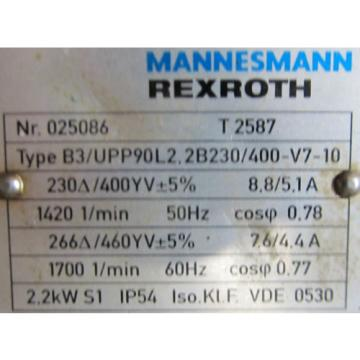 MANNESMANN REXROTH PV7 PUMP WITH T 2587 MOTOR
